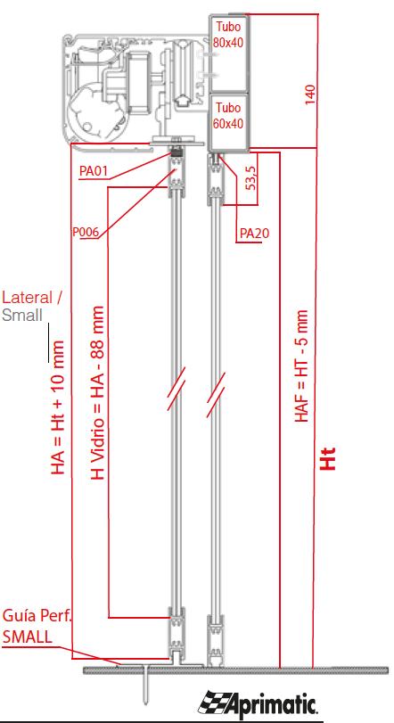 dimensiones perfil small aprimatic