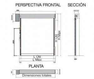 dimensiones puerta rapida