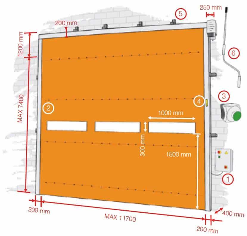 dimensiones puerta rapida apilable aprifast pack maxi