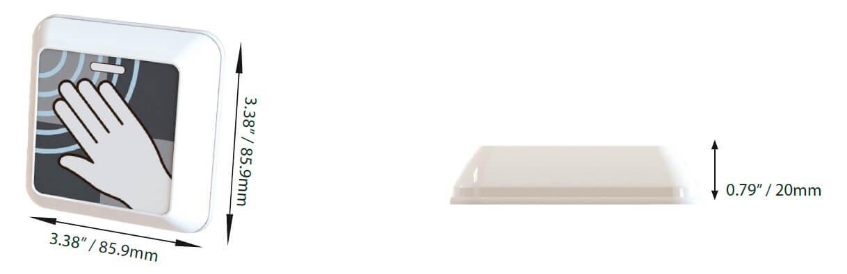 dimensiones pulsador sin contacto clearwave aprimatic