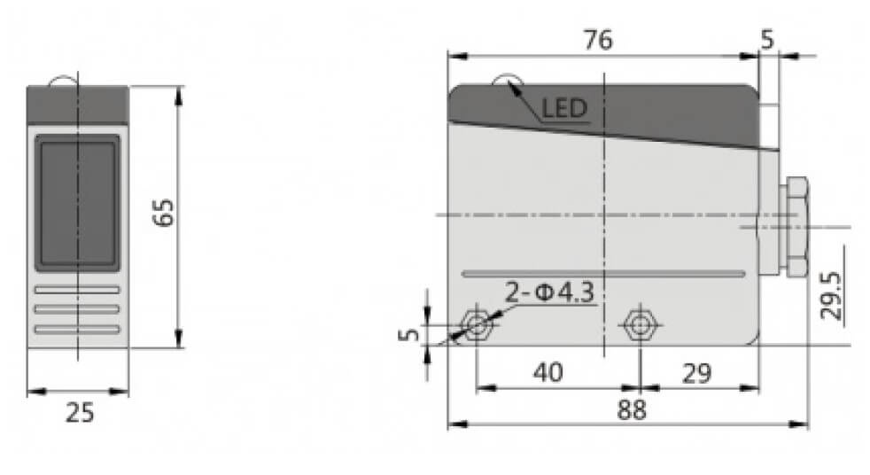 dimensiones fotocelula e16p aprimatic